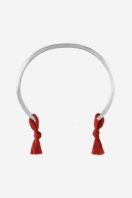 Nikolai Rose Sterling Silver Knotted Cuff - Red