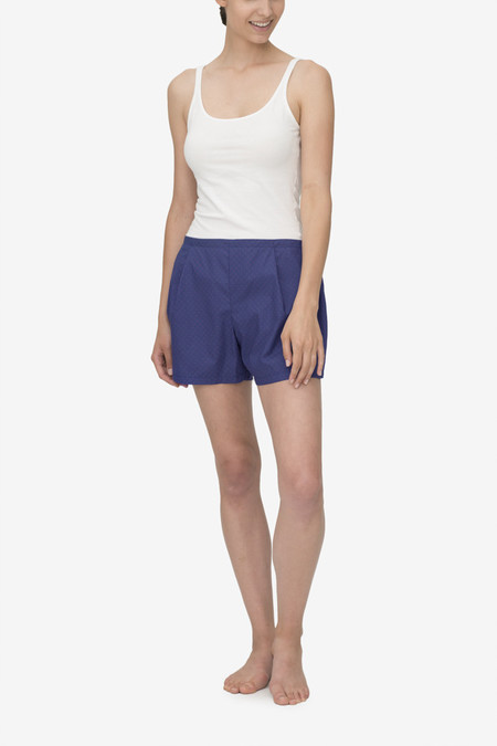 The Sleep Shirt Pleat Short Navy with Red Clusters