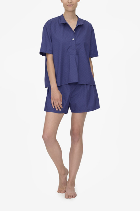 The Sleep Shirt Set - Short Sleeve Cropped Sleep Shirt and Pleat Short Navy with Red Clusters
