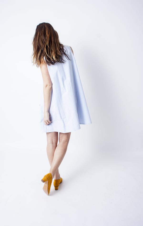 Samantha Pleet Trapeze Dress - Blue & White Stripes
