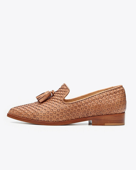 Nisolo Frida Smoking Loafer Woven Brown