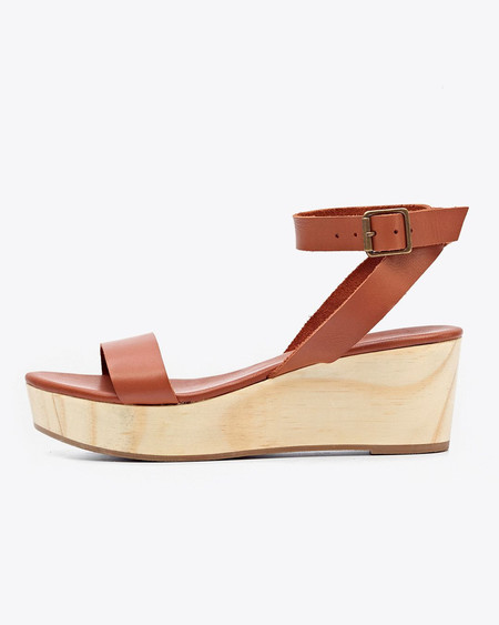 Nisolo Sarita Wooden Wedge Sandal Whiskey
