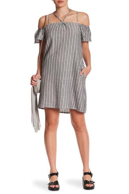 Lush Cameron Linen Pinstripe Dress
