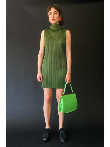 Issey Miyake Mock Neck Sleeveless Tunic - Khaki Green