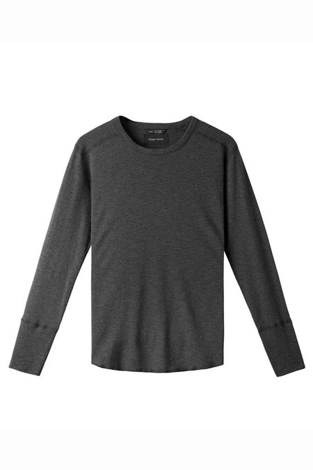 Wings + Horns 1 x 1 Slub Long Sleeve Crew - Charcoal