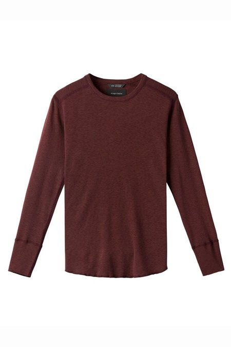 Wings + Horns 1 x 1 Slub Long sleeve Crew - Oxblood