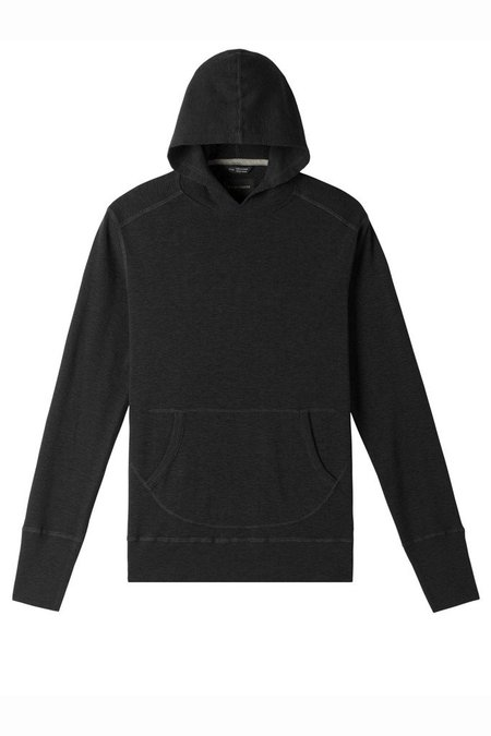 Wings + Horns 1 x1 Slub Hooded Pullover - Black