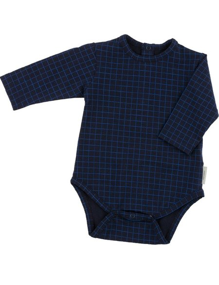 Kid's Tiny Cottons GRID PRINT LONG SLEEVE BODY - NAVY)