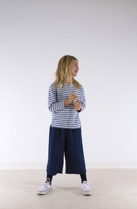 kid's Tiny Cottons STRIPED LONG SLEEVE TEE - BLUE