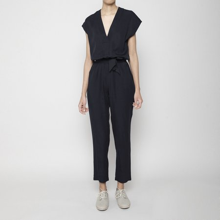 7115 by Szeki Signature V-Neck Jumpsuit - Charcoal