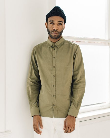 Norse Projects Hans Double Layer Cotton Shirt - Moss Green