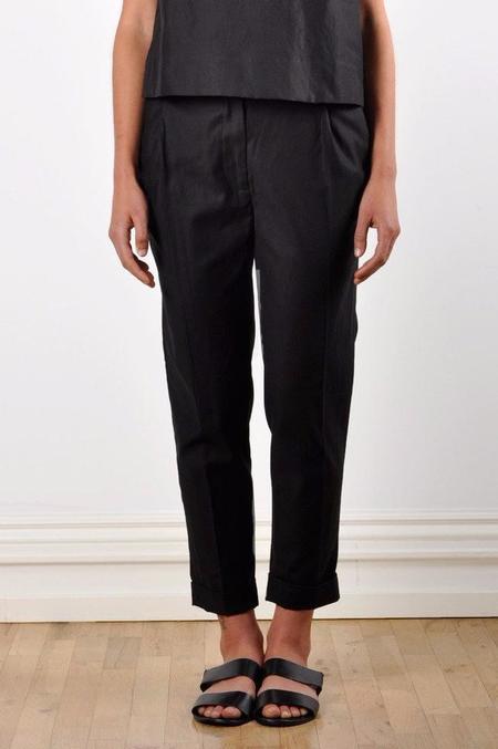 Waltz Ankle-Length Pleated Trouser in Black Cotton/Linen