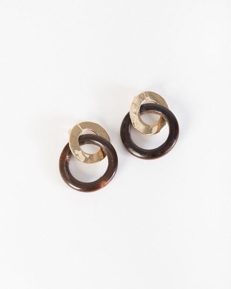 Luiny Wood classic ear pendants in chocolate