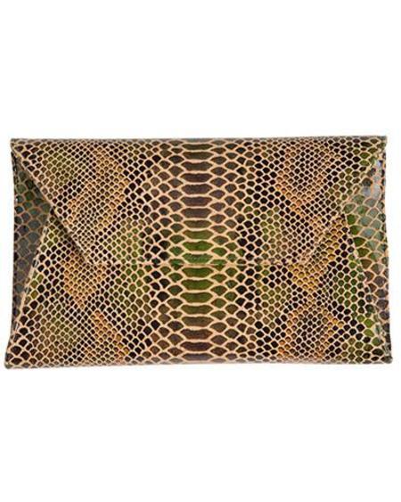 Oliveve Cleo Envelope Clutch in Jade Cobra Cow Leather