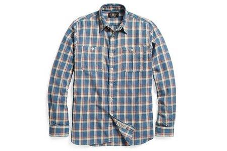 Men's RRL Plaid Cotton Twill Workshirt