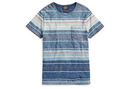 Men's RRL Striped Cotton Pocket T-Shirt