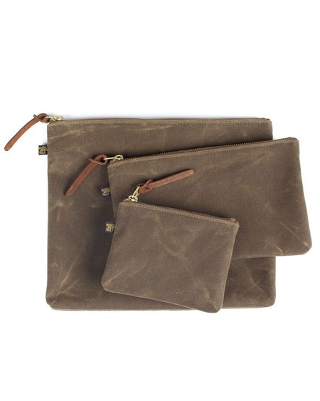 Wood&Faulk Cascade Range Tan Waxed Canvas Zipper Pouch Set