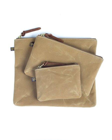 Wood&Faulk High Desert Sage Waxed Canvas Zipper Pouch Set