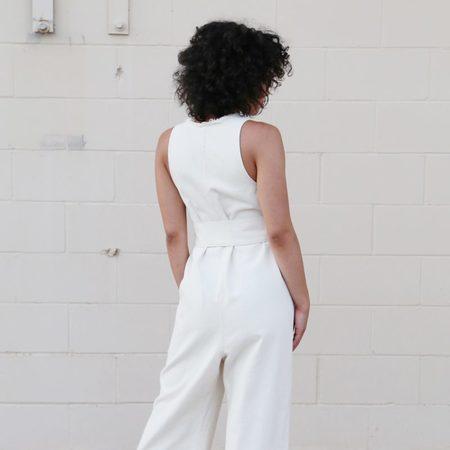 Hackwith Design House Raw Finish Jumper, Cream Cotton Denim
