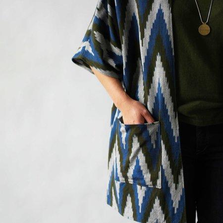 Susan Eastman Studio Kimono Coat in Blue Ikat