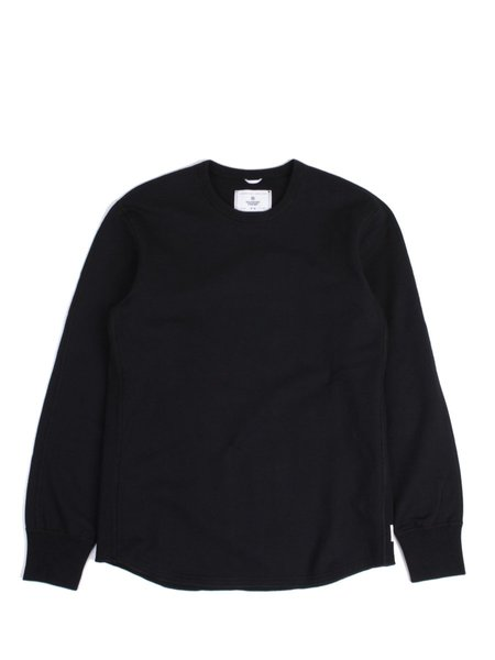Reigning Champ Midweight Terry Scalloped LS Crewneck - Black