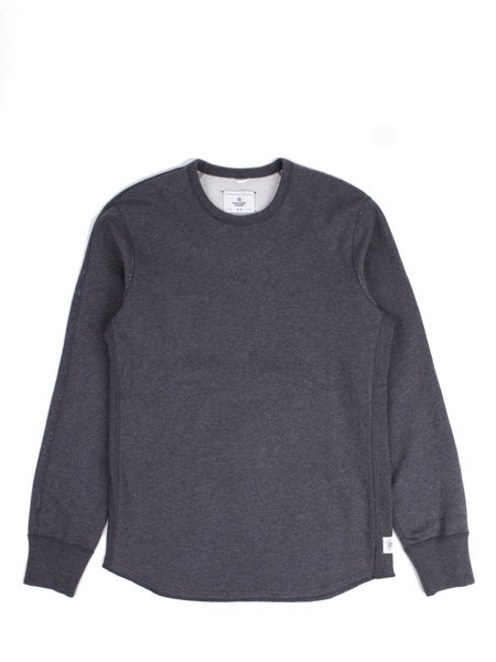 Reigning Champ Midweight Terry Scalloped LS Crewneck in Heather Charcoal