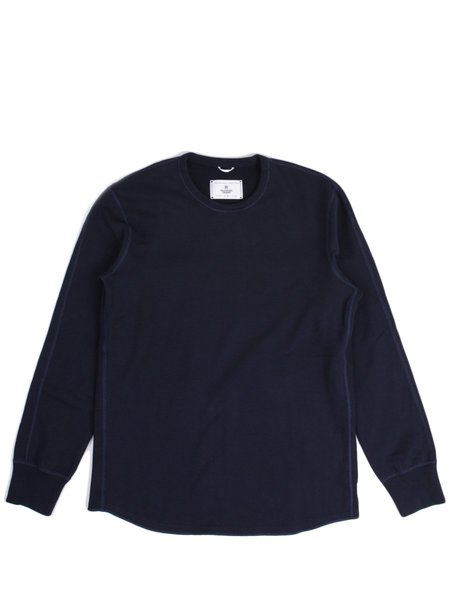 Reigning Champ Midweight Terry Scalloped LS Crewneck in Navy