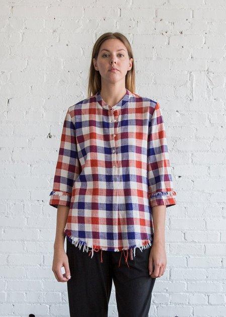 Raquel Allegra Short Sleeve Henley Japanese Plaid