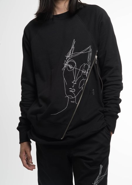 Siki Im Black Side Zip Crew Sweatshirt w/ Face