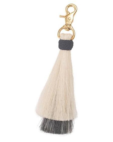 Oliveve blonde/grey double bell horse hair tassel on brass clip