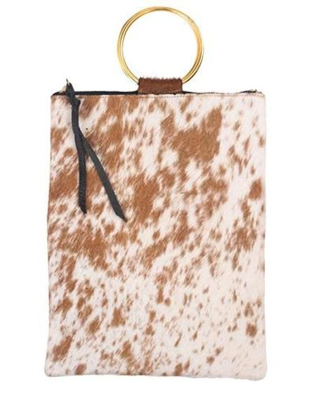 Oliveve Laine Brass Ring Bag in Brown and White Natural Hair Calf