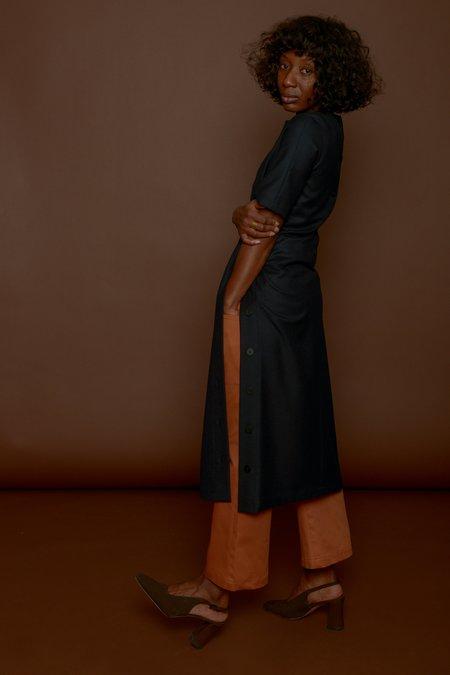 Wolcott : Takemoto Hamlet Dress in Navy Wool Twill