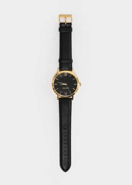 Berg + Betts Black and Black Gold Round Watch