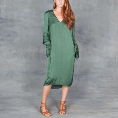 Raquel Allegra Ruffle Sleeve V Neck Dress