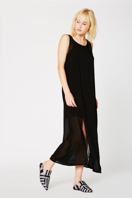 Lacausa Clothing Chiffon Panel Dress in Tar