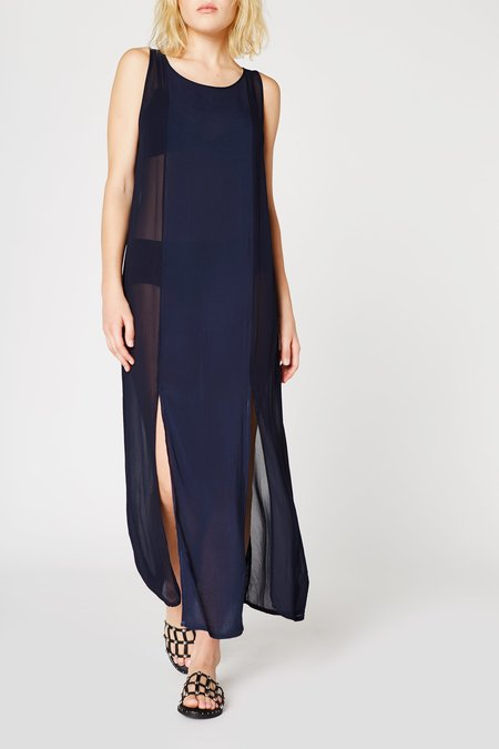 Lacausa Clothing Chiffon Panel Dress in Midnight