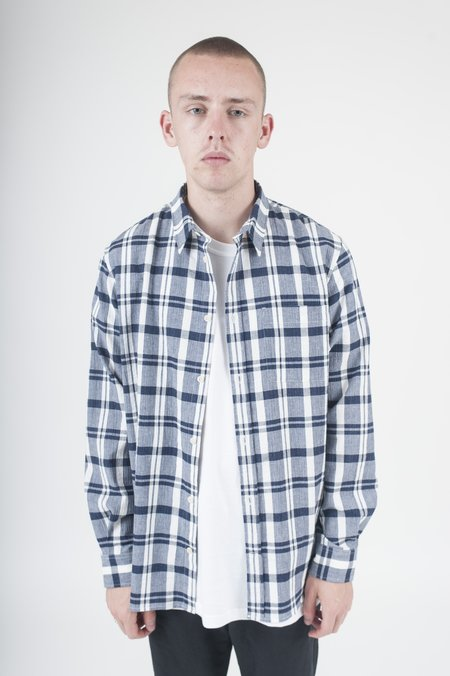 Norse Projects Villads Textured Check in Navy