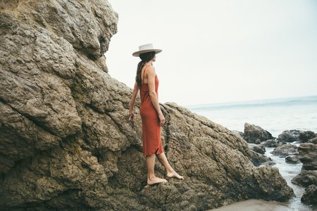 Ozma Silk Noil Slipdress in Redwood
