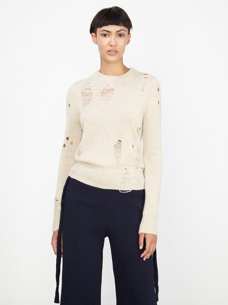 Raquel Allegra OATMEAL DECONSTRUCTED CASHMERE FITTED CREW