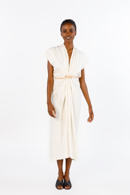Miranda Bennett Knot Dress, Silk Noil in Natural