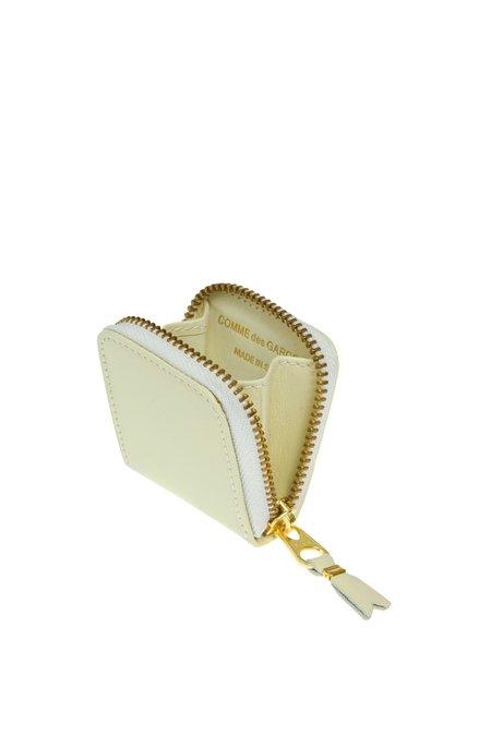 Comme des Garçons Mini Leather Zip Wallet - Off White - SA-4100