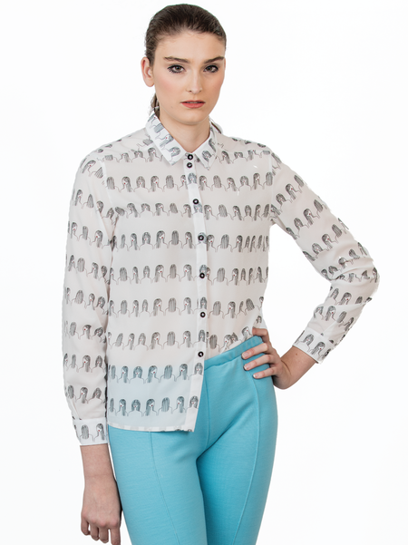 "One Imaginary Girl ""It Girl"" long sleeve printed blouse"