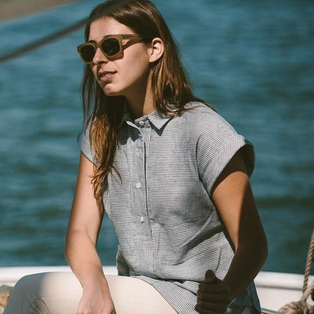 Taylor Stitch The Reese Popover in Navy Box Check