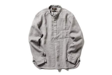 Beams + Wool Linen Band Color Shirt
