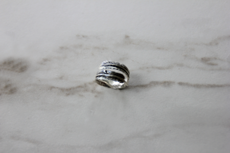 The Silver Stone Feather Coil Ring