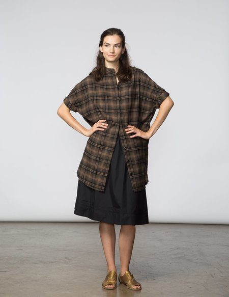 SBJ Austin Mandy Tunic - Brown & Black Plaid