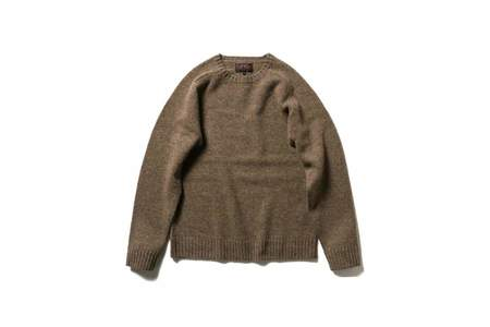 Beams + Crew Neck Sweater - Brown