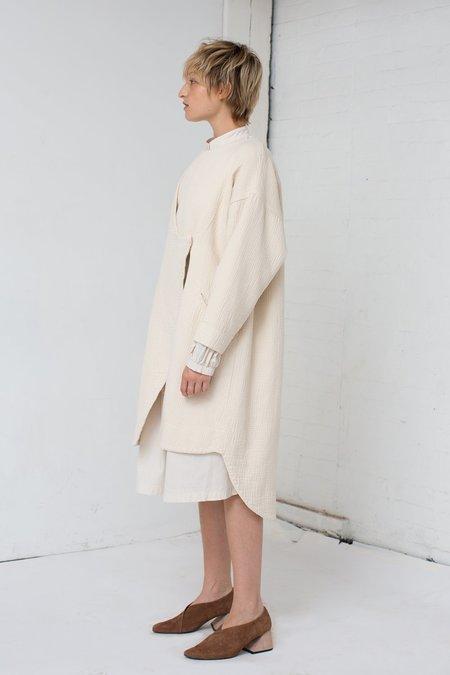 Black Crane Dual Canvas Coat in Cream