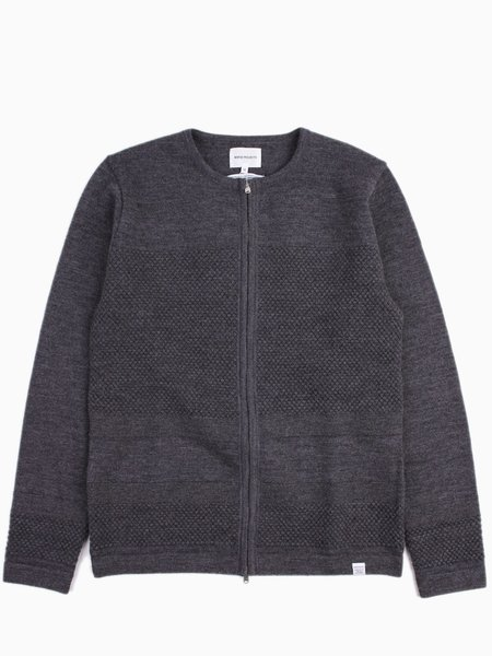 Norse Projects Skagen Zip Wool Charcoal