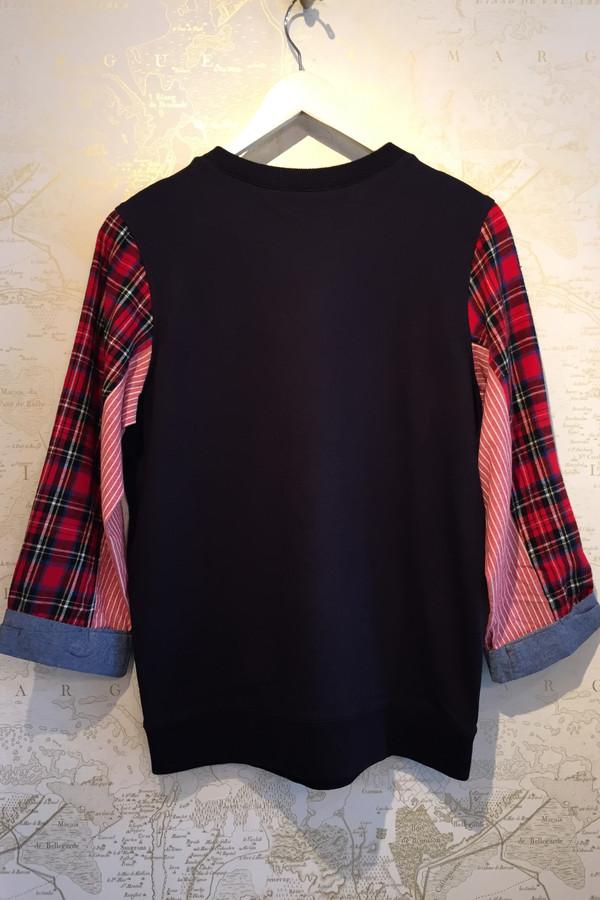 Clu Fleece sweatshirt with plaid sleeve